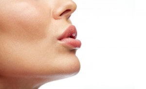 close up of young woman lips